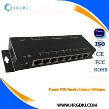 10 / 100M Passivo 8 portas POE poe midspan injector