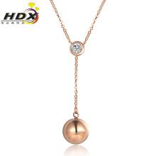 Colar de jóias de moda aço inoxidável de ouro rosa colar de diamantes (hdx1137)