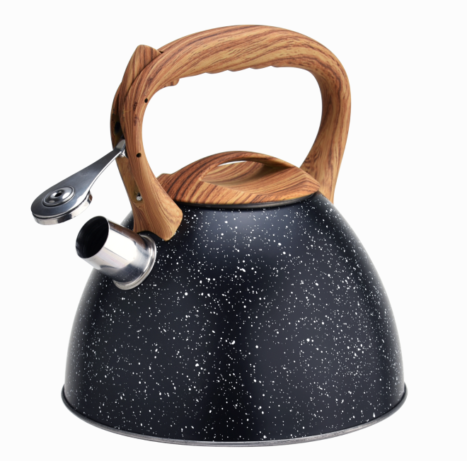 Stainless Steel Marble Woodlike Whistling Teakettle 359