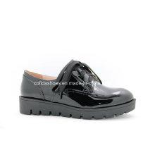 Conforto Plataforma Mulheres Sapatos de couro de lazer para senhora