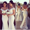 Custom Make off Shoulder Lace Top Bridesmaid Dresses for Wedding