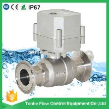 230V 2 voies 1 pouce à commande électrique Vanne à bille en acier inoxydable Vanne à bille sanitaire électrique rapide (T25-S2-CQ)