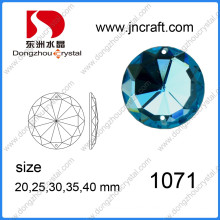 Dz-1071 Flat Back Blue Mirror Round Glass Beads with Holes for Wedding Dress