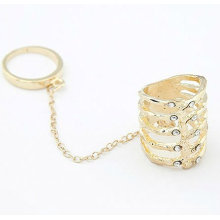 Europe Style Individuality Statement Rhinestone Rings Two Finger Double Ring Jewelry FR21