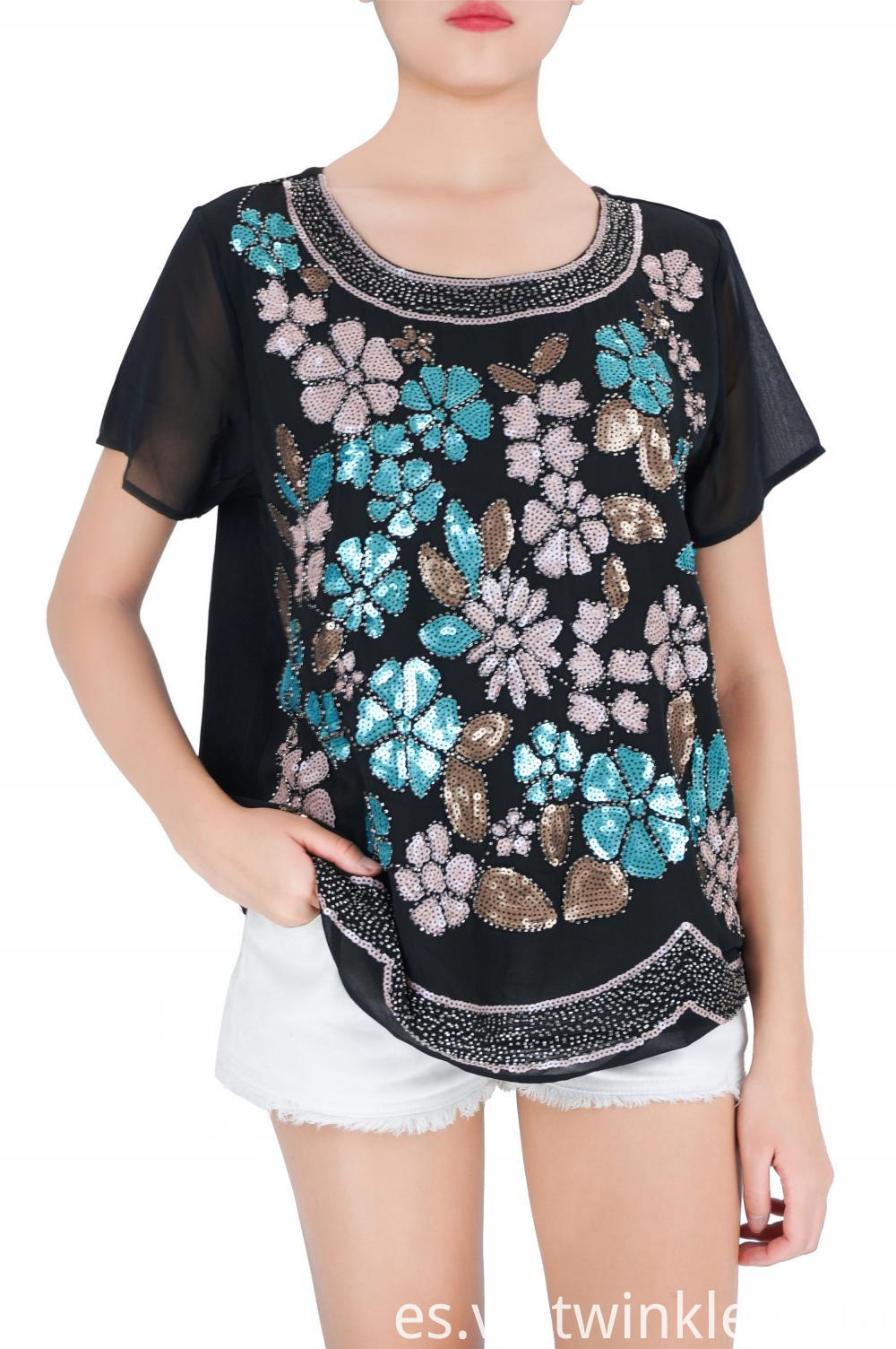 Multi Colors Embroidered Woman's Short Sleeves