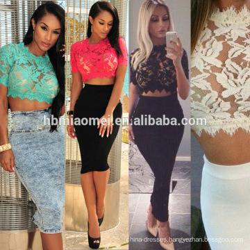 2017 Wholesale Women Gold Lace Applique Summer Mini Bodycon Dress