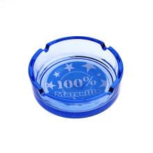 Ashtray синего стекла с рисунком Футбол