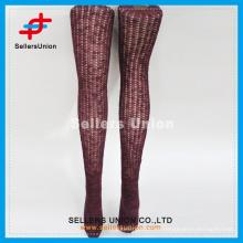 2015 calcetines calientes del muslo caliente de Borgoña del nuevo estilo atractivo de las mujeres de la media japonesa para la venta al por mayor