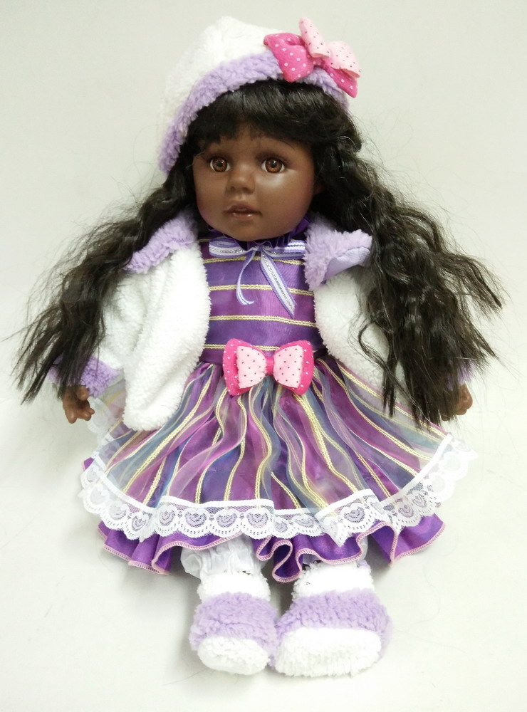 Black Skin Vinyl Doll With Long Hair