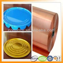 Film PET stratifié blanc de fer-blanc or vert et autres couleurs spéciales pour la production de bouchon en métal