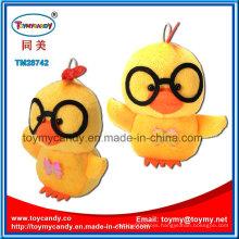 Lovable Cartoon Animal Toy of Yellow Plush Glasses Chicken Pendant