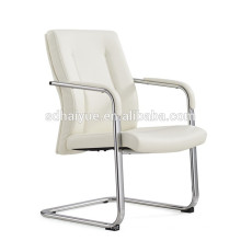 2017 White leather office conference chair metal strong no wheels conference chair