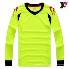 Camiseta de fútbol de manga larga lisa de alto rendimiento con 5 colores