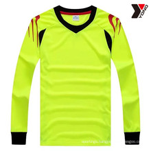 High performance plain long sleeve soccer jersey with 5 colors