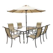 Outdoor Sling Möbel-8pc-ESS-Set mit Regenschirm-Clear Glass top