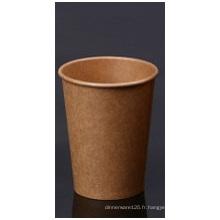 Tasse en papier kraft marron avec un seul mur