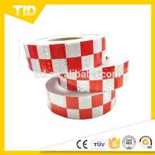 Fita reflexiva quadriculada, branco e vermelho, fita reflexiva de segurança