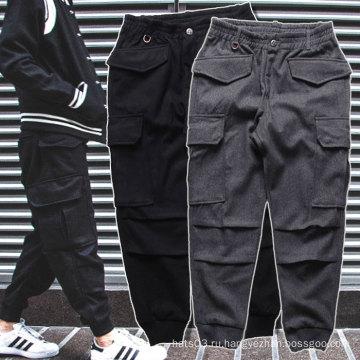 Черные / серые брюки спортивные Jogger Толстые зимние брюки