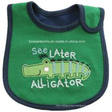 Promotional Cartoon Alligator Applique Embroidery Soft Cotton Terry Feeder Kids Apron Bib