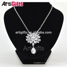 Nouveau modèle blanc plaqué or CZ collier de diamants fleurs belle fille collier