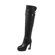 100% натуральной кожи сапоги женские на платформе кожа плотно колено высокие сапоги