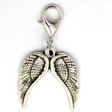 Antique Silver Double Wing Pendant Custom Jewelry Alloy Jewellry
