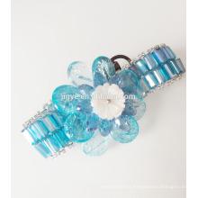 Bracelet de déclaration de perles de pierre gemme bleu