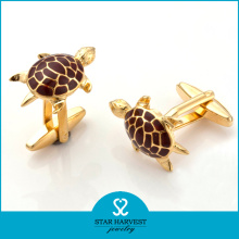 Tortoise Shaped Gold Plated Enamel Men′s Cufflinks (SH-BC0011)