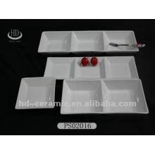 Hohe weiße Keramik geteilte Platte
