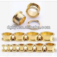 Gold plated ear plug ear tunnel piercing jewelry