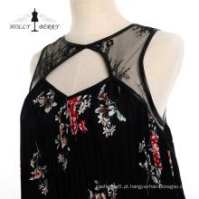 Moda preto primavera floral jantar vestidos roupas femininas