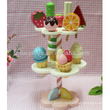 wooden ice cream playing stand mini food toys