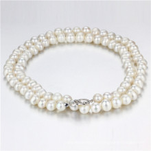 11-12mm Big Size White Knotted Unique Pearl Necklace Jewelry Wholesale