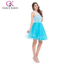 Grace Karin New Design Lace Sleeveless Short Blue Prom Dress CL6123-1#
