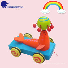 Kids Funny Play Wooden Sea Lion Pull Along Cart Toy for Toddler