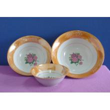 Simple Flower Decal Round Shape Ceramic Salad Bowl