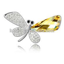 2016 бабочка крыло кристалл броши искусственный пользовательских ювелирных родия гальваническим броши