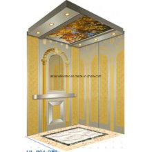 Passenger Elevator Lift Home Elevator Lift Gold Mirror Etching Hl-X-044