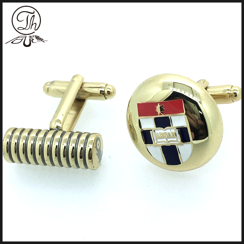 Custom 3D golden unusual cufflinks men