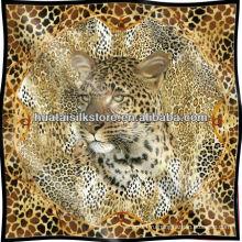 Leopard кожи экран печатных чистого шелка шарф