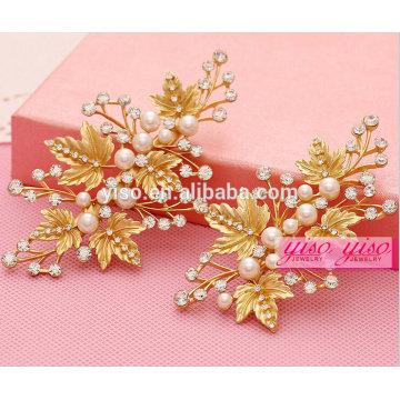 Folha dourada flor casamento cabelo ornamento jóia tiara pentes