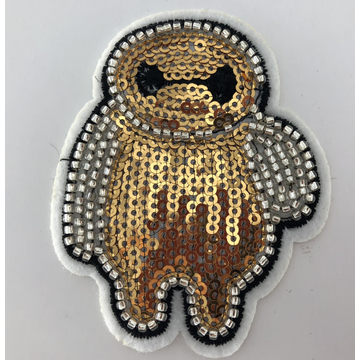 Guldvitt Baymax kartongmaskin Sequin Beaded Patch