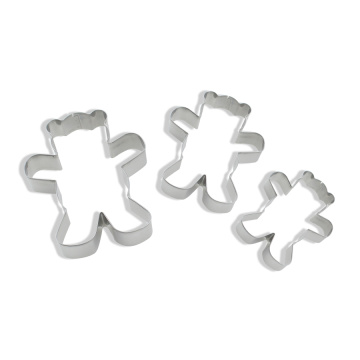 3PCS aço inoxidável Bears Shaped Cookie Cutter Set