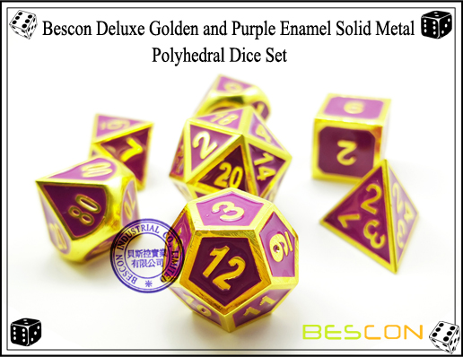 Bescon Deluxe Golden and Purple Enamel Solid Metal Polyhedral Role Playing RPG Game Dice Set (7 Die in Pack)-3
