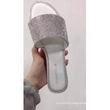 Summer Wholesale Women Rhinestone Slides Mules Shoes Crystal Diamond Slippers Shoes