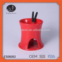Mini Fondue Set / Schokolade Fondue Brunnen / Fondue Brenner, rote Steinzeug Fondue Topf