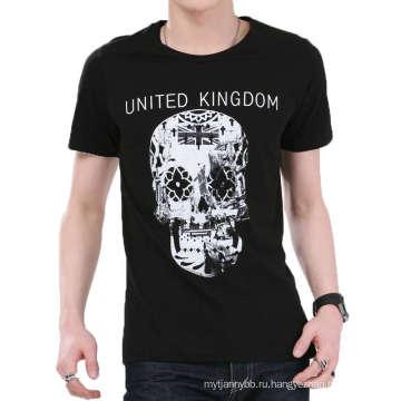 Черно-белый дизайн череп печать Оптовая продажа мода хлопок мужчины T-рубашки