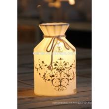 Lámpara de porcelana eléctrica con luz nocturna de cerámica