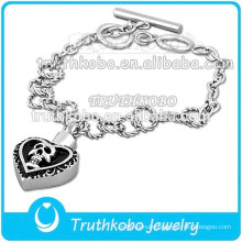Punk style wholesale urn cremation skull bracelet bangle cremation heart pendants men's bracelets