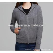 Suéter de la sudadera con capucha 100% de la cachemira de las mujeres de la venta caliente con el frente Zip